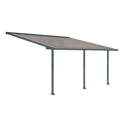 Olympia 10 ft. x 18 ft. Grey/Bronze Patio Cover Awning