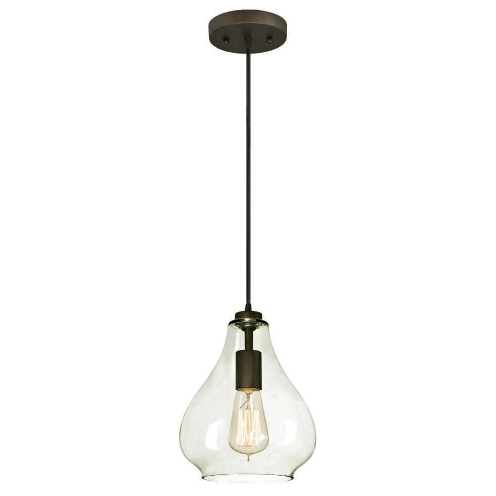 Blown glass pendant lights lighting the home depot 1 light oil rubbed bronze adjustable mini pendant with hand blown clear glass aloadofball Images