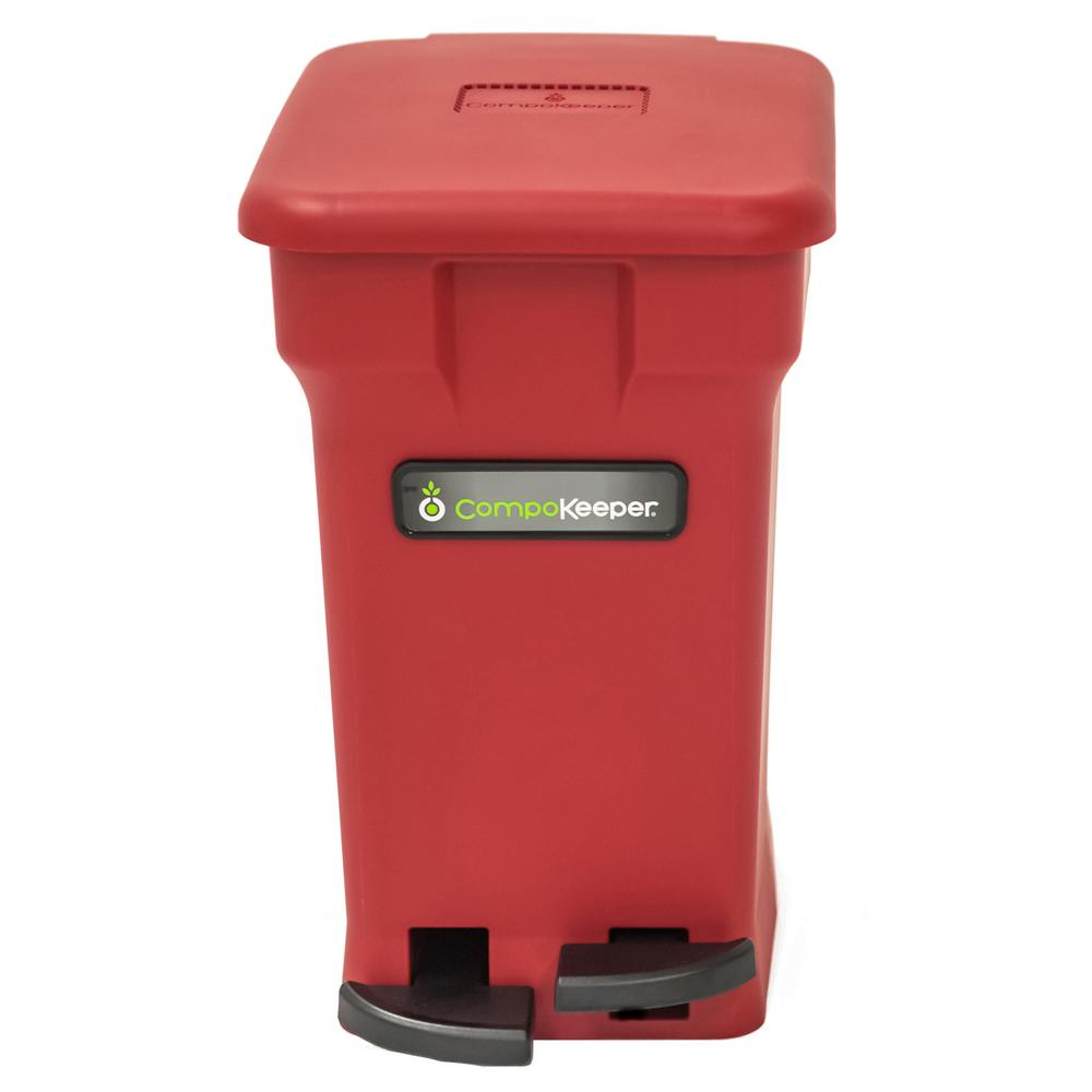 6 Gal. Red Hands Free Indoor Compost Bin