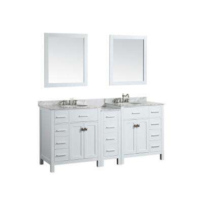 Bosconi 74 in. W Double Bath Vanity in White with White Carrara Marble Vanity Top in White with White Basin and Mirror