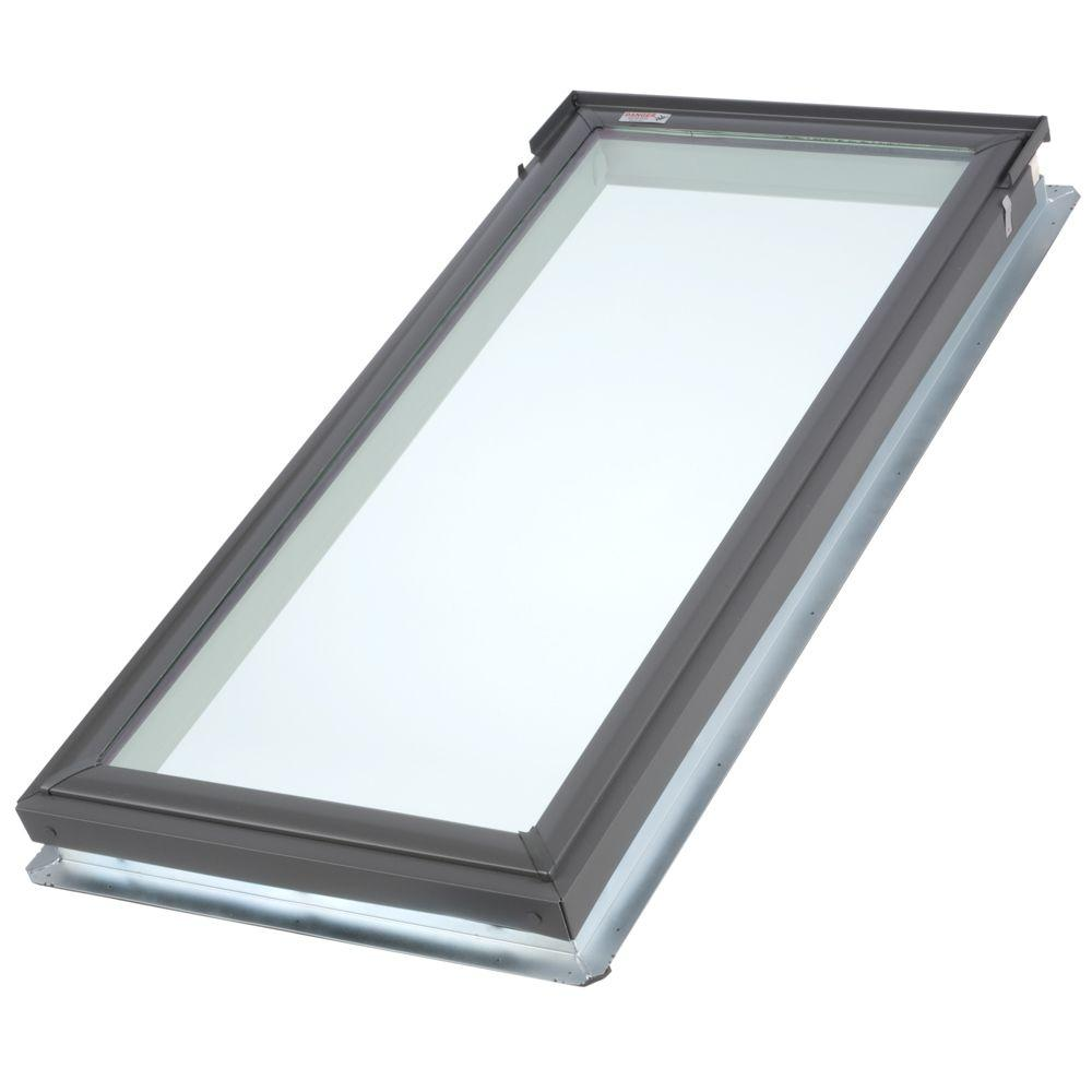 Velux 21 in x 45 3 4 in fixed deck mount skylight with for Velux glass