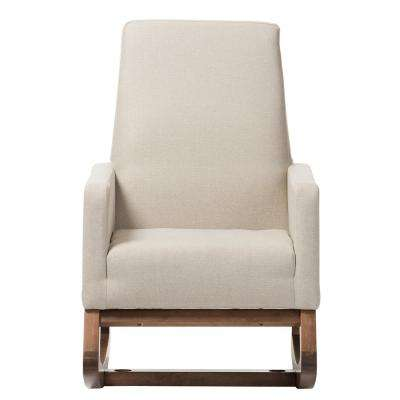 Yashiya Mid-Century Beige Fabric Upholstered Rocking Chair