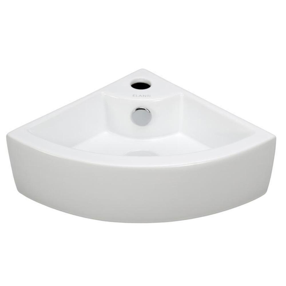 Elanti Wall-Mounted Corner Bathroom Sink in White-EC9808 - The ...