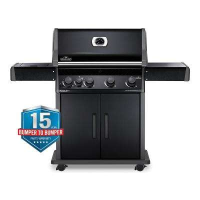 Rogue 4-Burner Propane Gas Grill with Infrared Side Burner in Black