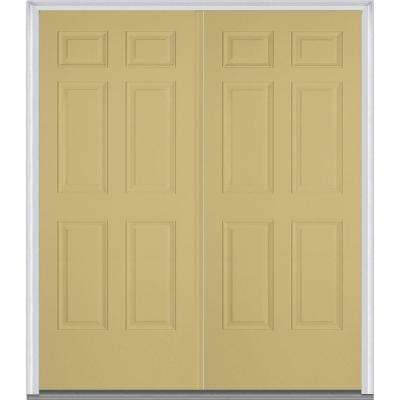 72 in. x 80 in. Classic Right-Hand Inswing 6-Panel Painted Fiberglass Smooth Prehung Front Door with Brickmould