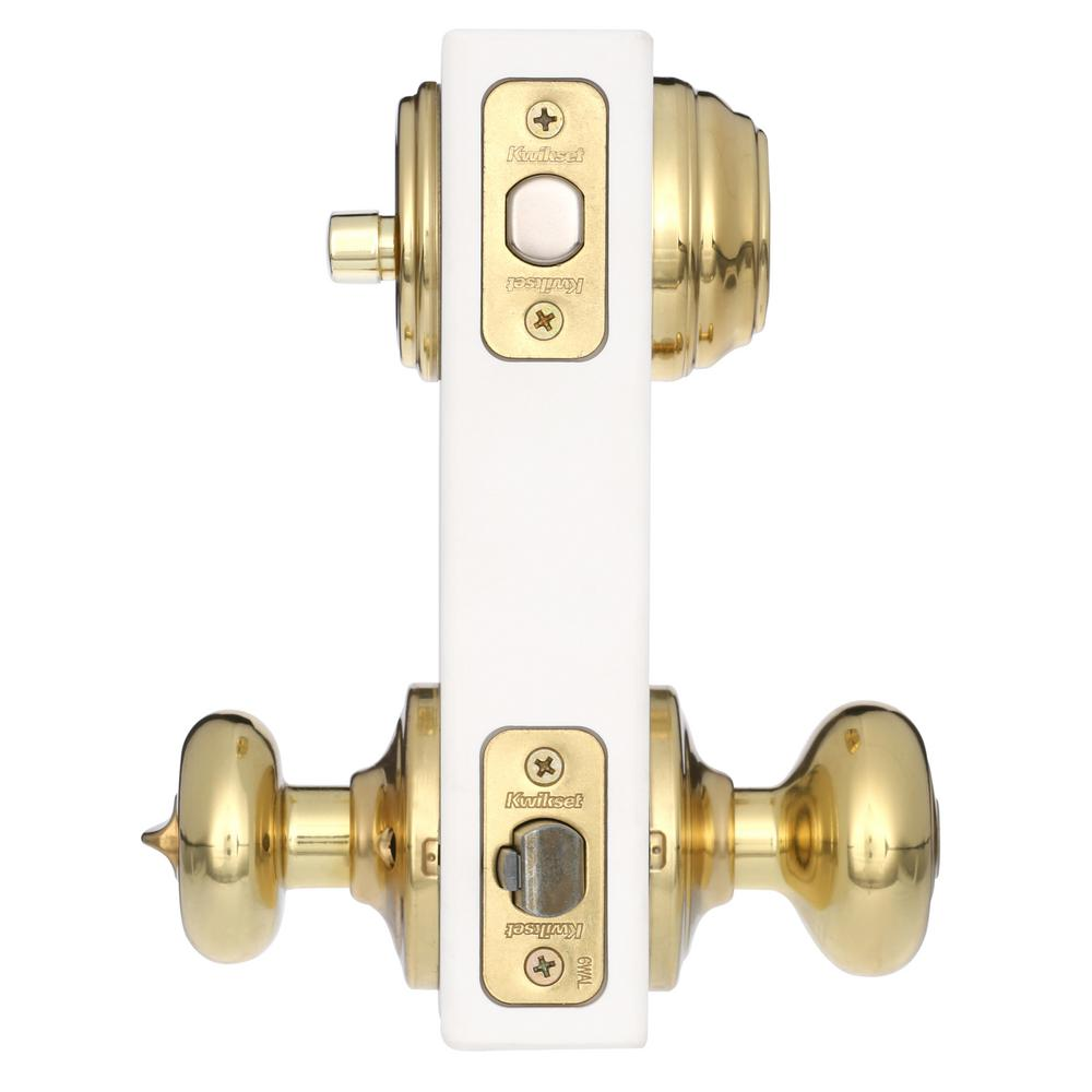 Kwikset 9912 Juno Keyed Entry Double Cylinder Deadbolt Combo Pack Polished Brass