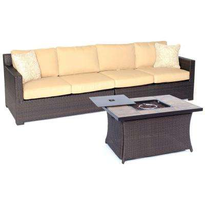 Metropolitan 3-Piece All-Weather Wicker Patio Fire Pit Seating Set with Sahara Sand Cushions and Porcelain Table Top