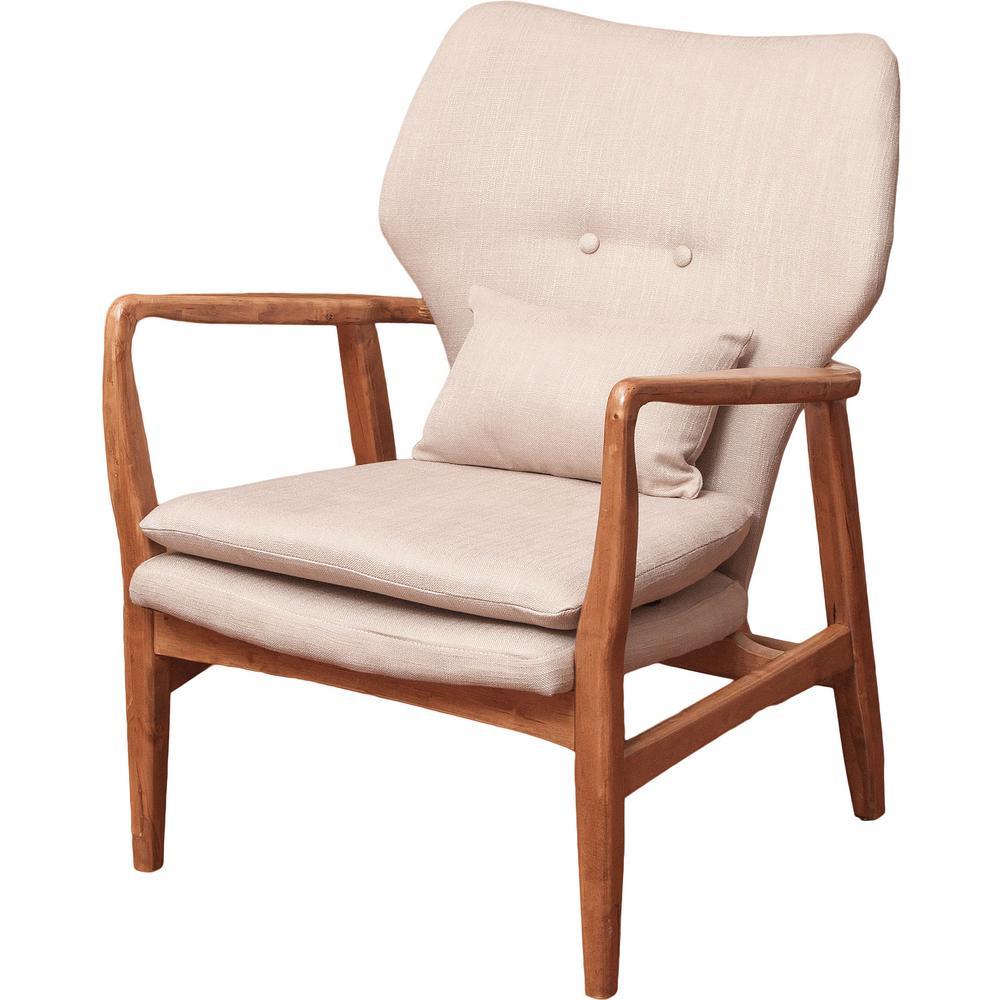 Haddie Beige Fabric Club Chair