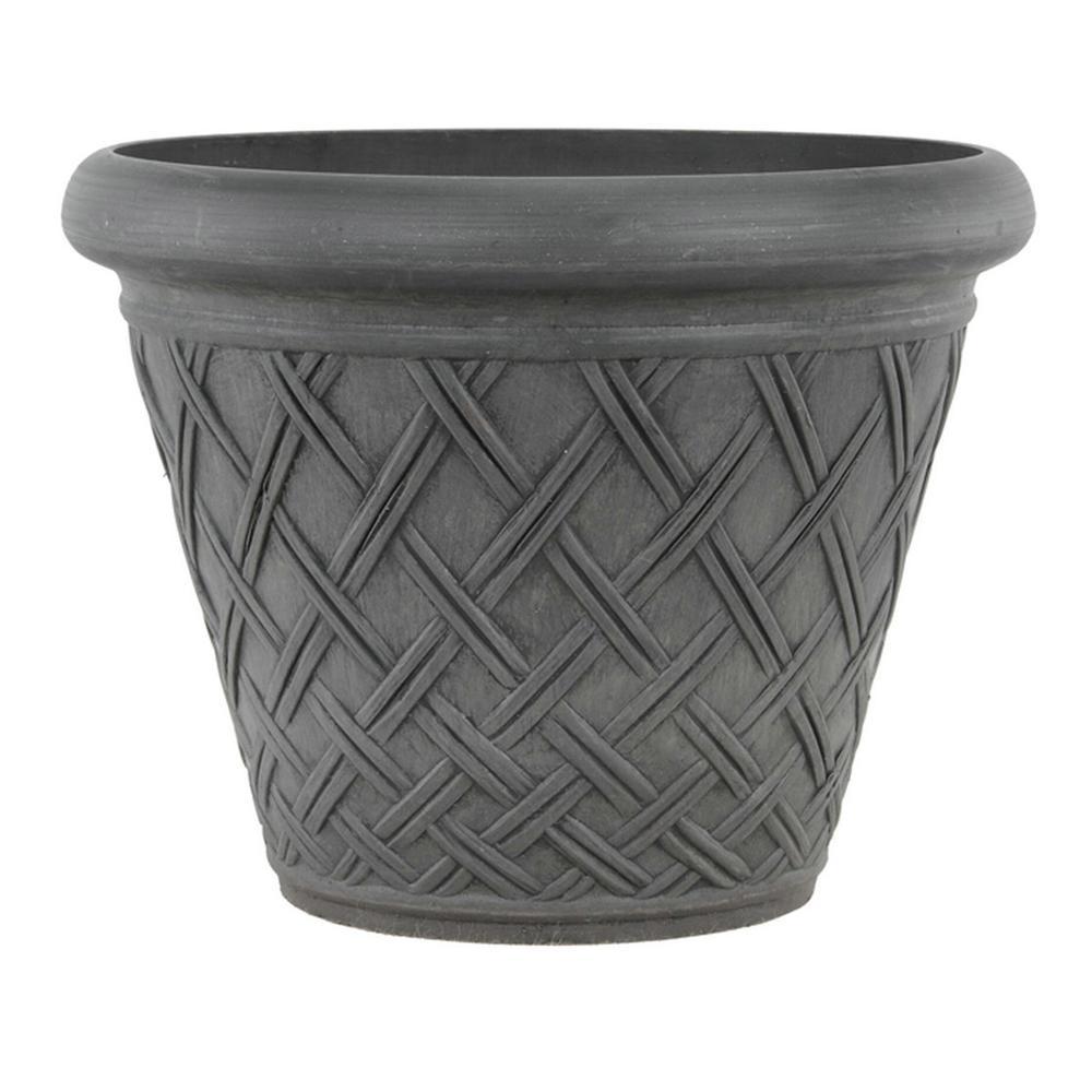 Basket Weave 18 in. x 14 in. Dark Charcoal PSW Pot