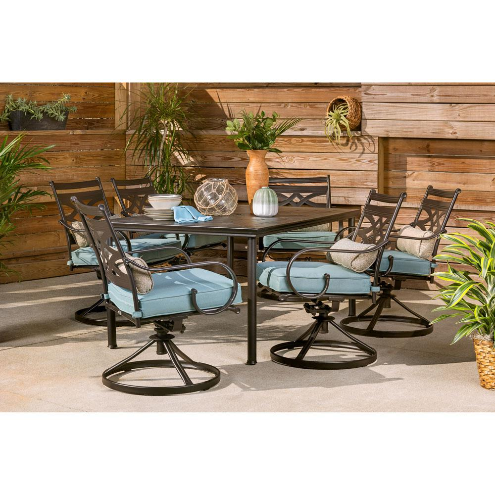 Hanover Montclair 7-Piece Steel Outdoor Dining Set with Ocean Blue Cushions Swivel Rockers and Dining Table