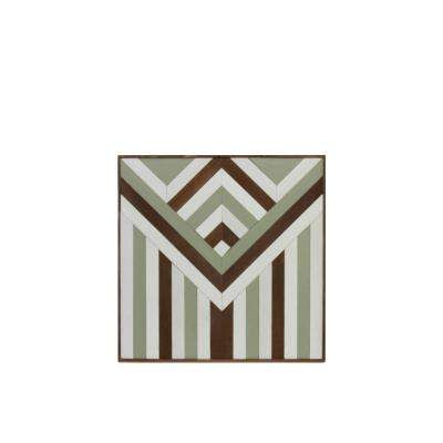 "23.75 in. x 24.75 in. ""Reverse Triangle Lath With Stripes"" Printed Wall Art"