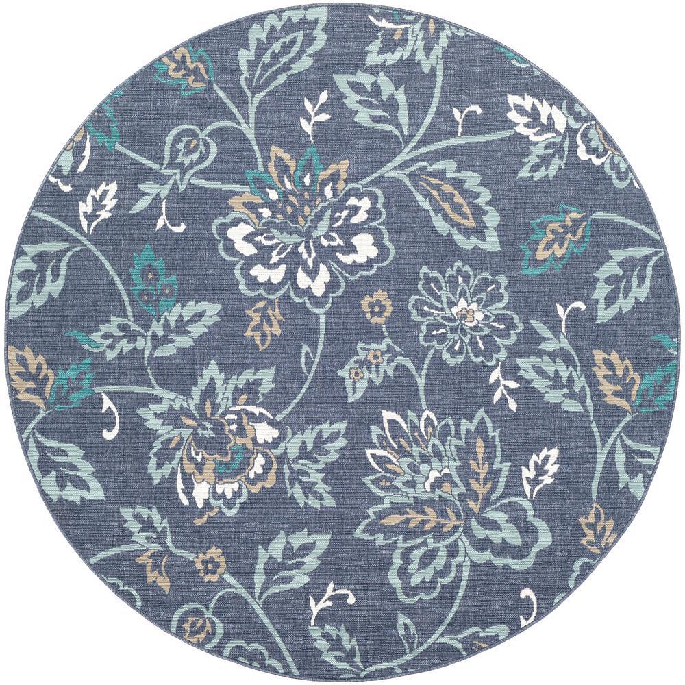 Artistic Weavers Felix Aqua 5 Ft 3 In X 5 Ft 3 In Round Floral
