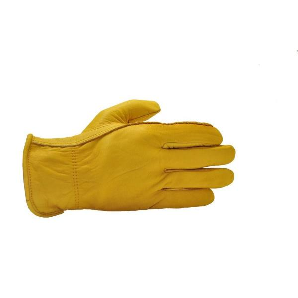 Premium Genuine Cowhide Medium Leather Gloves with Reinforced Patch Palm (3-Pair)