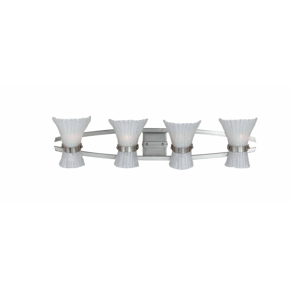 Illumine 4-Light Raw Nickel Bath Bar with White Hand Beaded Glass Shades