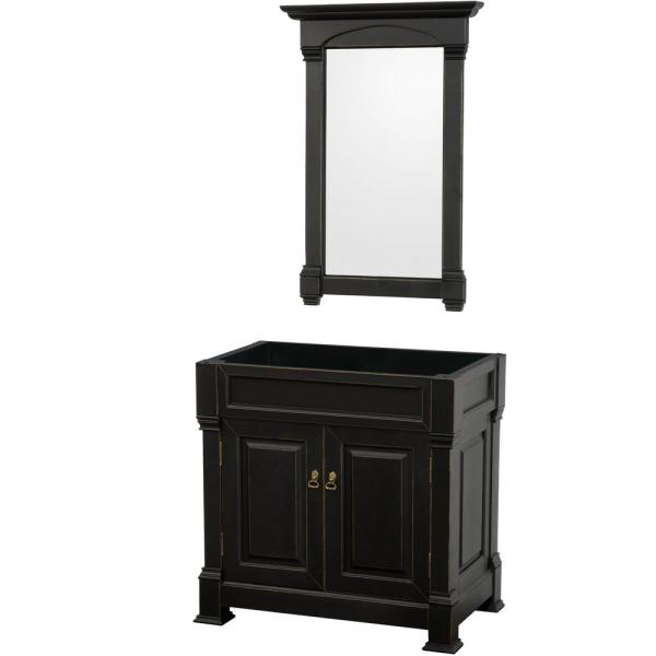Andover 36 in. W x 22.25 in. D Bath Vanity Cabinet Only with Mirror in Black