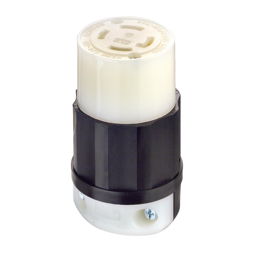 30 Amp 125/250-Volt Locking Grounding Plug, Black/White