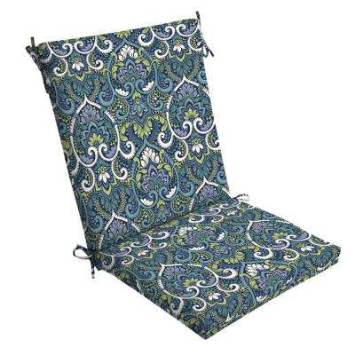 20 in. x 20 in. Sapphire Aurora Damask Outdoor Dining Chair Cushion