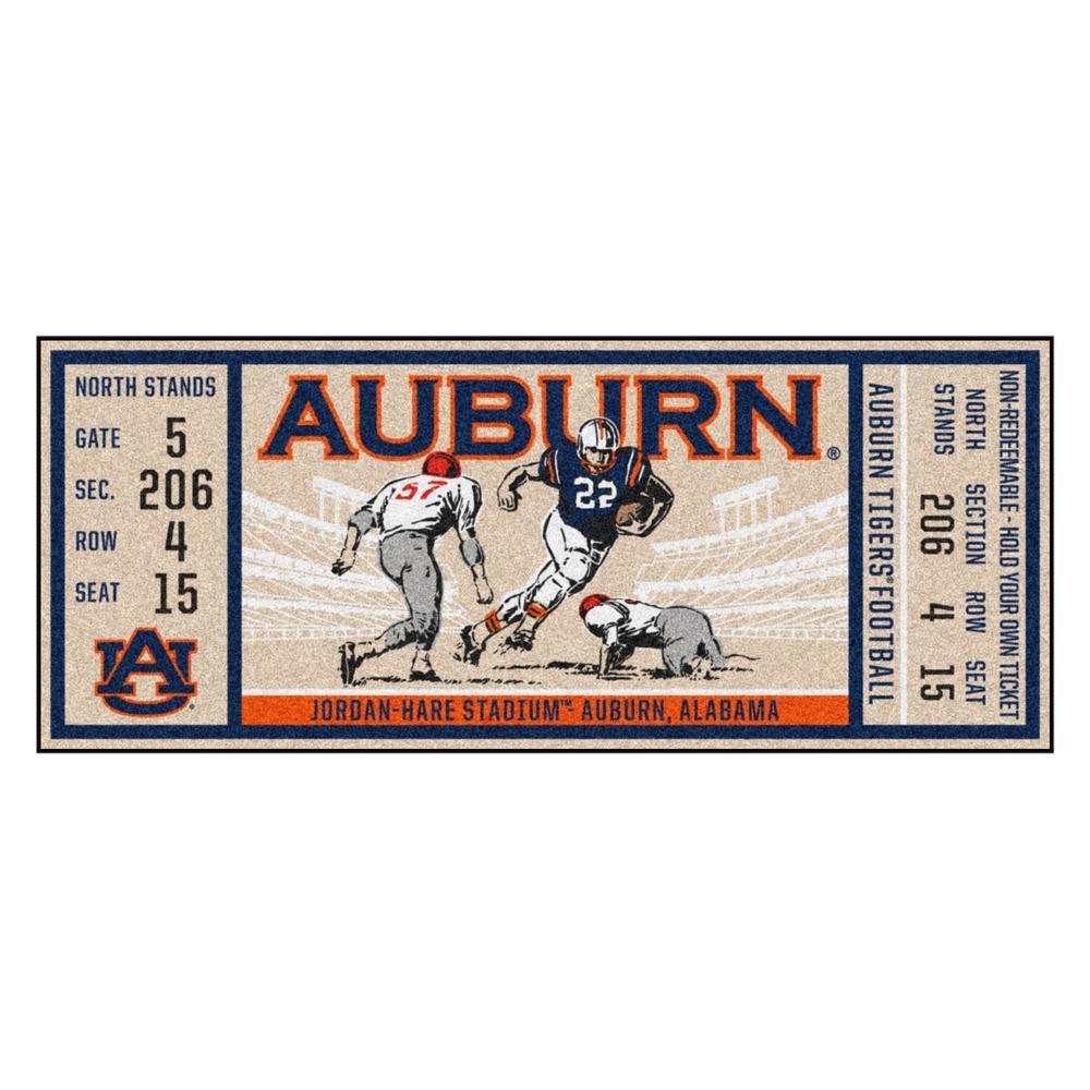 NCAA Auburn University 30 in. x 72 in. Indoor Ticket Runner Rug