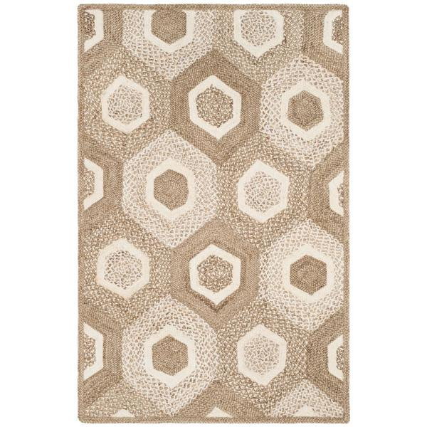 Safavieh Natural Fiber Gray Ivory 5 Ft X 8 Ft Indoor Area Rug Nf881f 5 The Home Depot