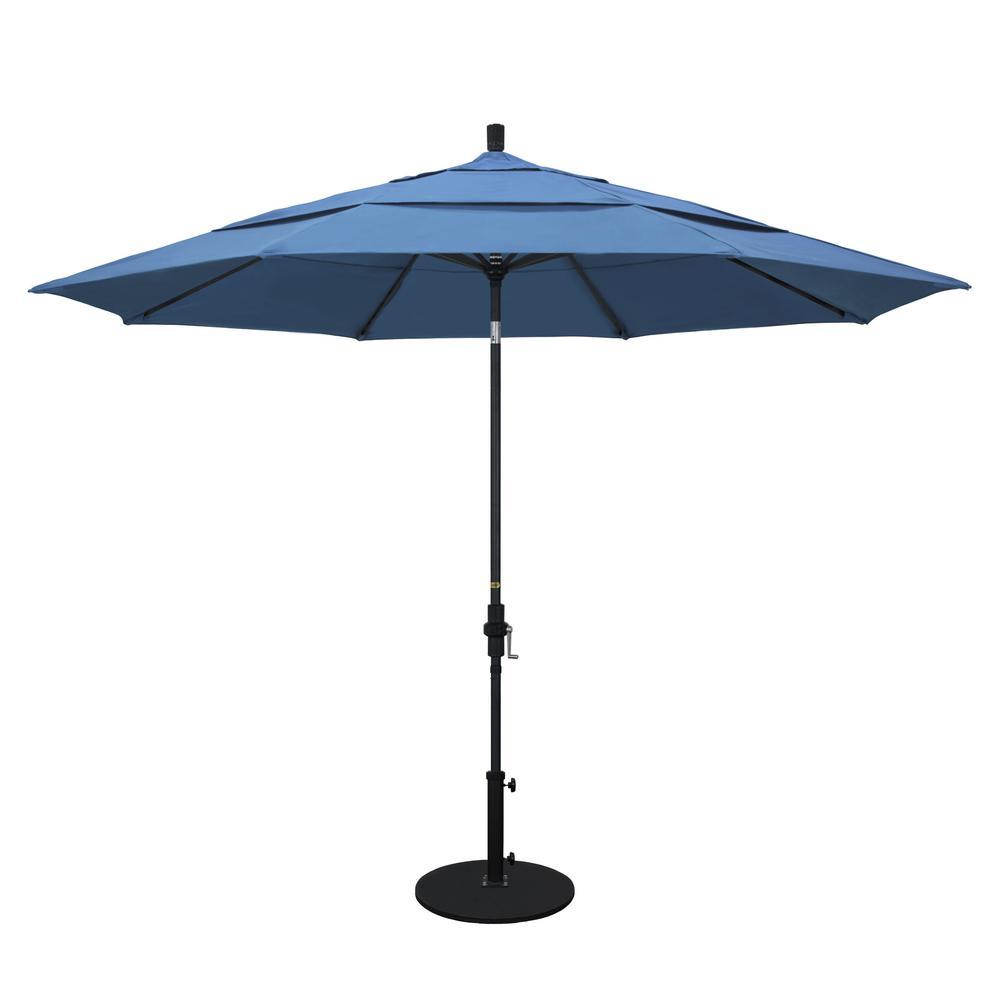 11 ft. Aluminum Collar Tilt Double Vented Patio Umbrella in Frost