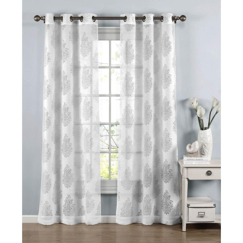Window Elements Sheer Penelope Cotton Blend Burnout 96 In L Grommet Curtain Panel Pair White Set Of 2
