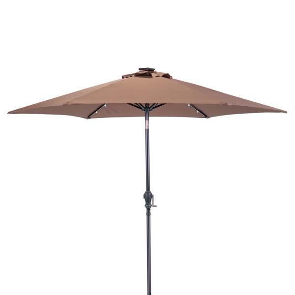 9 ft. Round Solar Lighted Market Umbrella in Cocoa