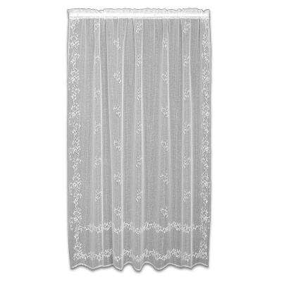 Sheer Divine White Lace Curtain 60 in. W x 96 in. L