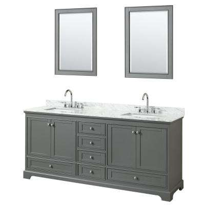 79.75 in. W x 22 in. D Vanity in Dark Gray with Marble Vanity Top in Carrara White with White Basins and Mirrors