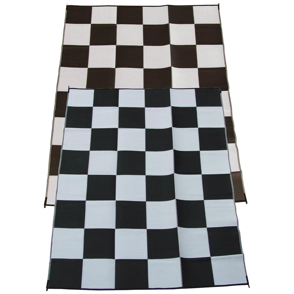 Fireside Patio Mats Racing Checks Black And White Checkered Flag 9 Ft. X 12  Ft. Polypropylene Indoor/Outdoor Reversible Patio/RV Mat 2054_9x12_Race_Check  ...
