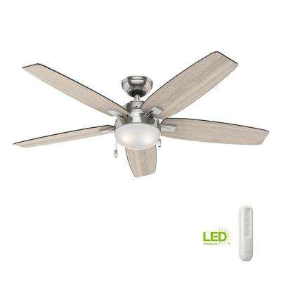 Antero 54 in. LED Indoor Brushed Nickel Ceiling Fan with Light Bundled with Handheld Remote Control