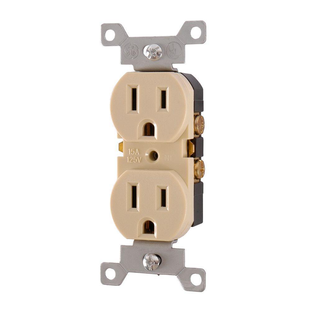 GE 15 Amp 125-Volt AC Tamper Resistant Duplex Grounded Receptacle - Ivory