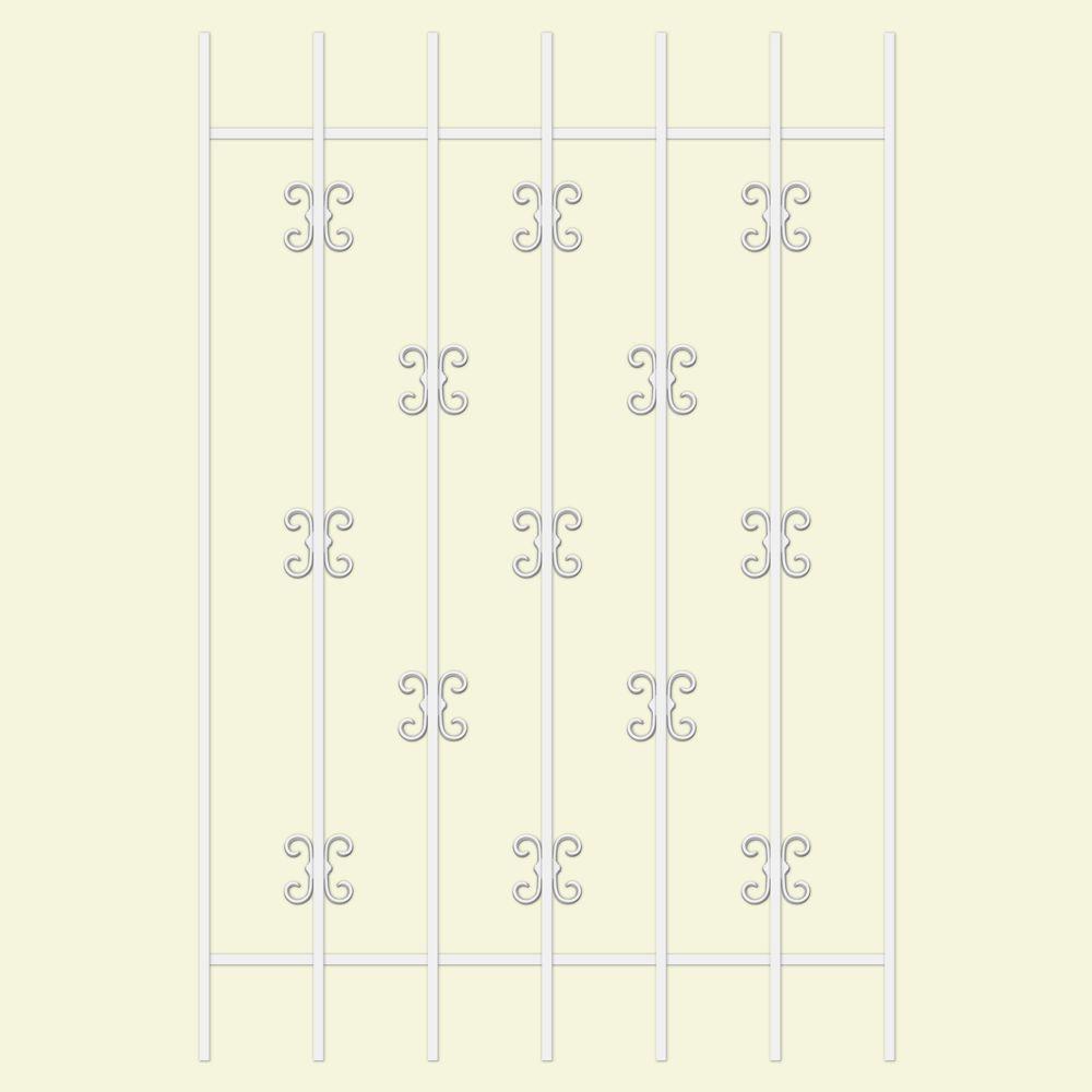 Unique Home Designs Moorish Lace 36 in. x 54 in. White 7-Bar Window Guard-DISCONTINUED