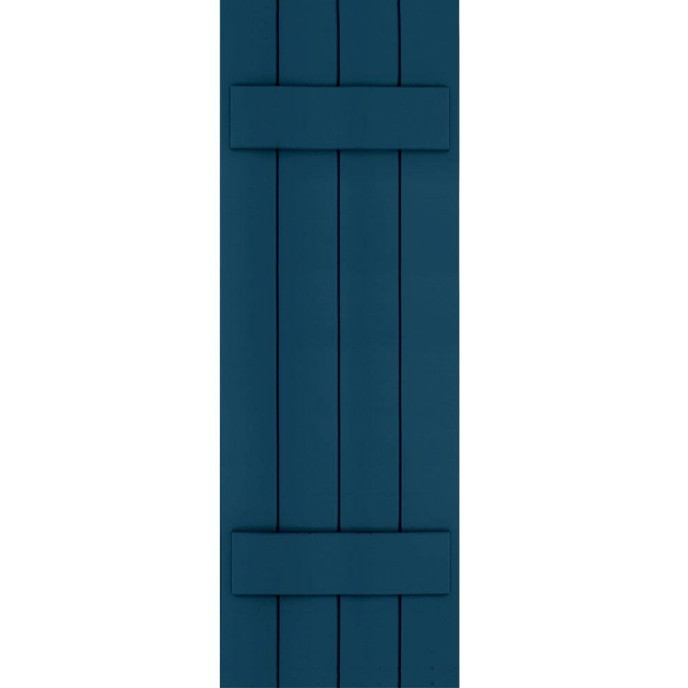 Winworks Wood Composite 15 in. x 45 in. Board & Batten Shutters Pair #637 Deep Sea Blue