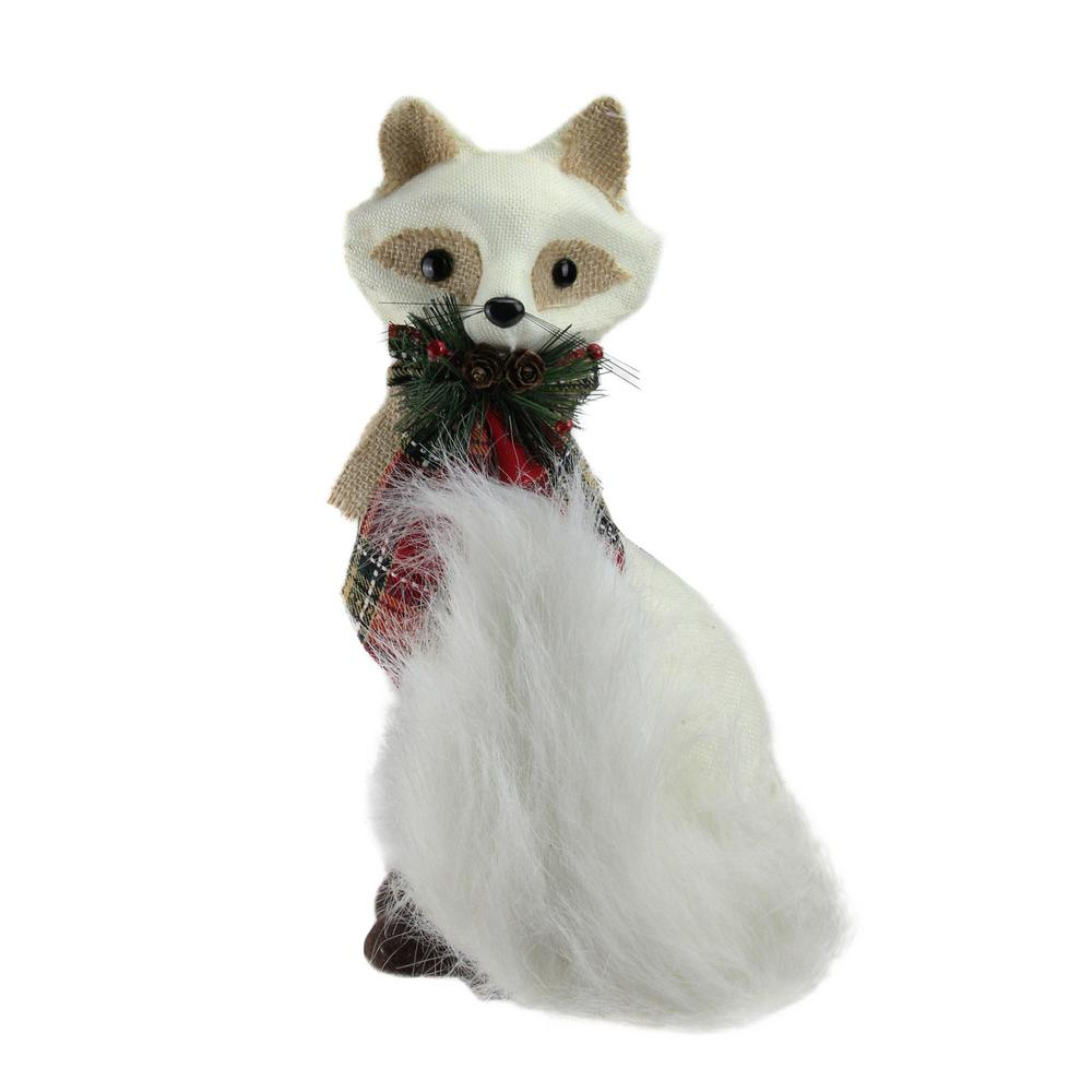 13 in. Holiday Moments Cream White Fox with Plaid Bow Christmas