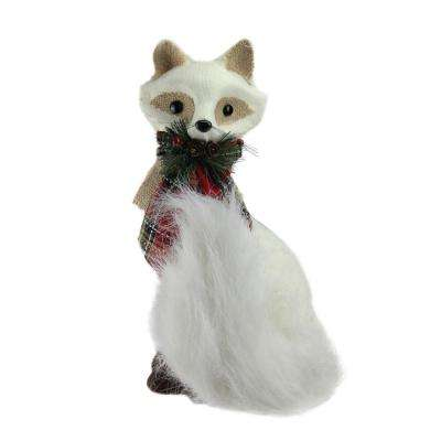 13 in. Holiday Moments Cream White Fox with Plaid Bow Christmas Decoration