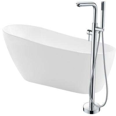 Trend 67 in. Acrylic Flatbottom Non-Whirlpool Bathtub in White with Sens Faucet in Polished Chrome