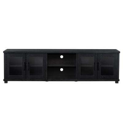 Fremont Black Ravenwood TV Bench with Glass Cabinets for TVs up to 90 in.
