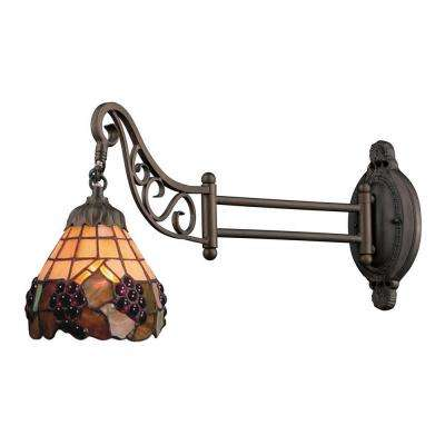 1-Light Tiffany Bronze Swingarm Wall Sconce