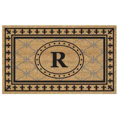Bungalow Black 20 in. x 36 in. SuperScraper Vinyl/Coir Monogrammed R Door Mat