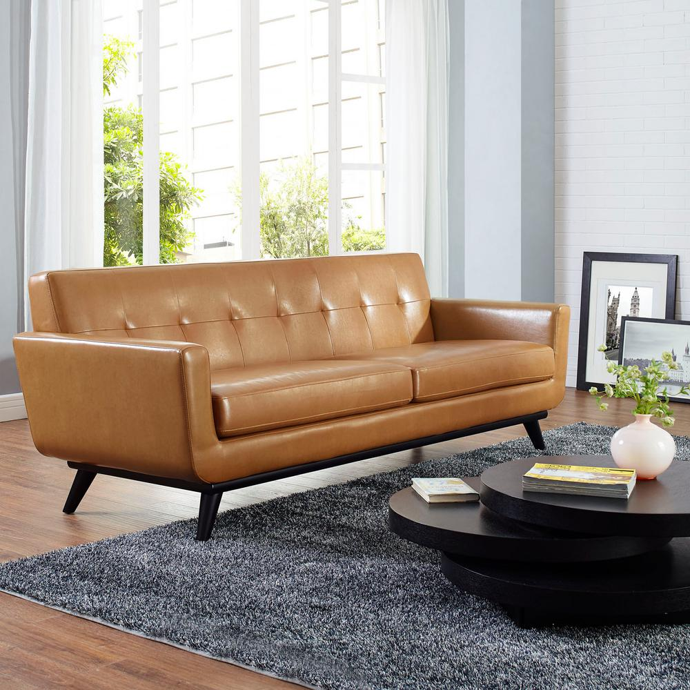 Modway Engage Tan Bonded Leather Sofa