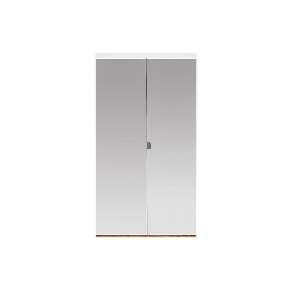 Impact Plus 36 In. X 96 In. Beveled Edge Mirror Solid Core MDF Interior Closet  Bi Fold Door With White Trim BMP3423080W   The Home Depot
