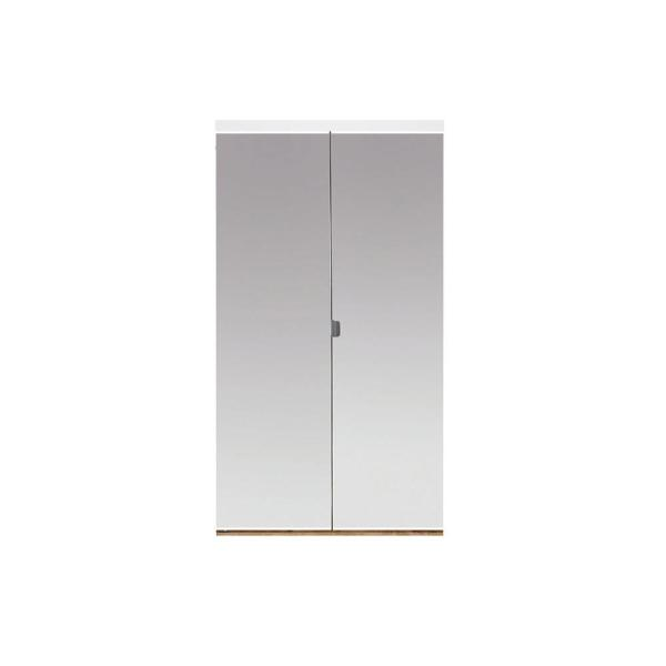 30 in. x 80 in. Beveled Edge Mirror Solid Core 1-Lite MDF Interior Closet Wood Bi-Fold Door with White Trim