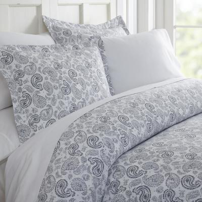 Coarse Paisley Patterned Performance Navy King 3-Piece Duvet Cover Set