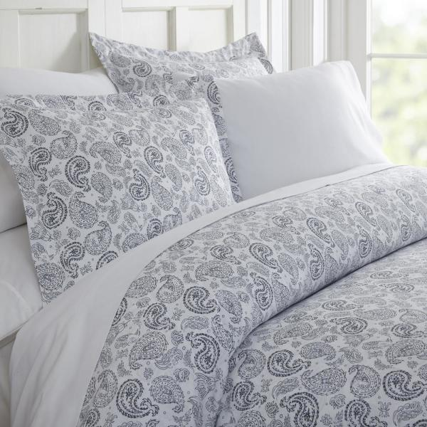 Becky Cameron Coarse Paisley Patterned Performance Navy King 3-Piece Duvet Cover Set