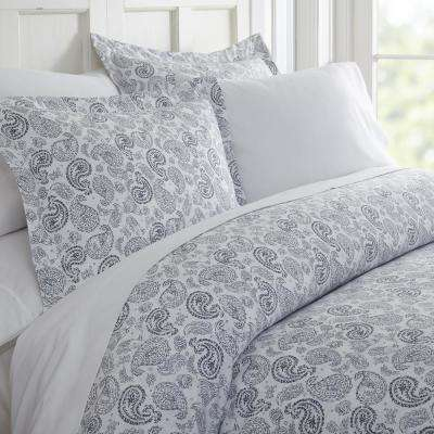 Coarse Paisley Patterned Performance Navy Queen 3-Piece Duvet Cover Set
