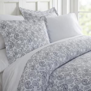 Coarse Paisley Patterned Performance Navy Twin 3-Piece Duvet Cover Set