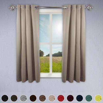 Heavy Duty Drapery 52 in. W x 63 in. H Panel in Beige