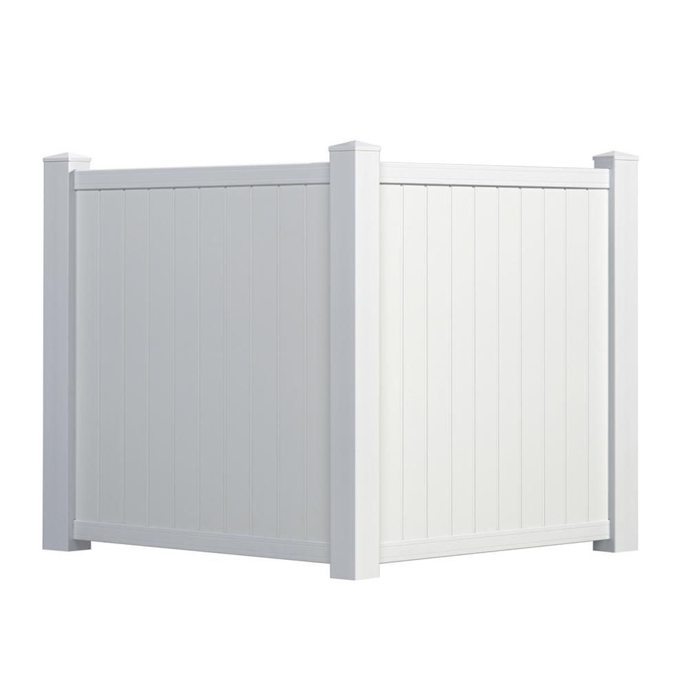 Outdoor Essentials 4.5 ft. H x 3.5 ft. W White Vinyl Privacy Corner Accent Fence Panel Kit