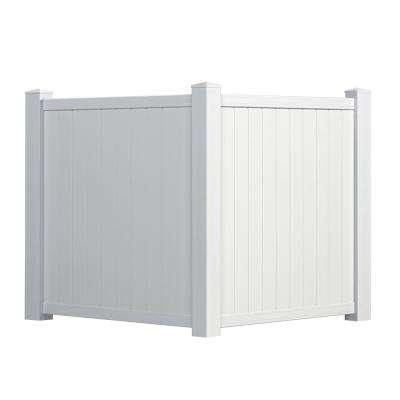 4 5 ft  H x 3 5 ft  W White Vinyl Privacy Corner Accent Fence Panel Kit