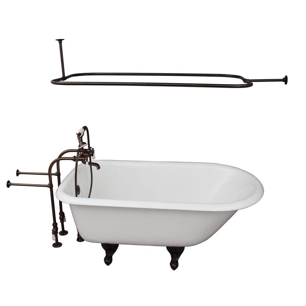 Barclay Products 4.5 ft. Cast Iron Ball and Claw Feet Roll Top Tub in White with Oil Rubbed Bronze Accessories